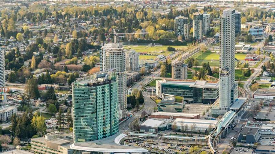 An aerial of City Centre, Surrey BC
